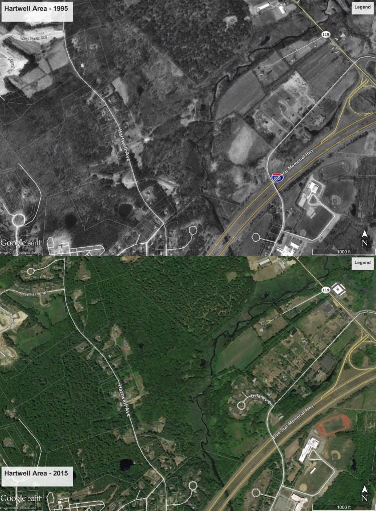 image of before and after views of an area from Google Earth's Historical Imagery.